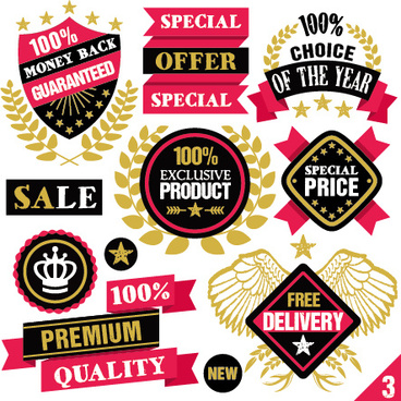 premium quality ribbon labels with sticker vector