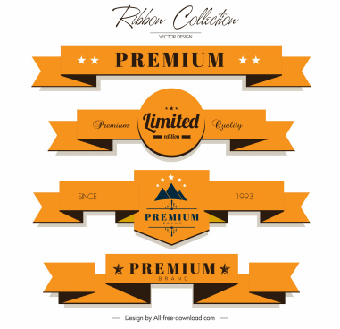 premium ribbon templates orange 3d origami shapes