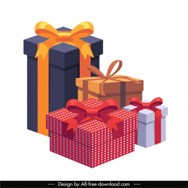present box design elements colorful modern 3d sketch