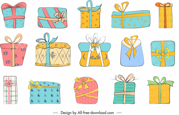 present box icons collection colorful flat classic sketch