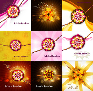 presentation beautiful raksha bandhan celebration collection colorful background vector