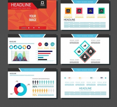 presentation design elements charts polygonal geometric decor