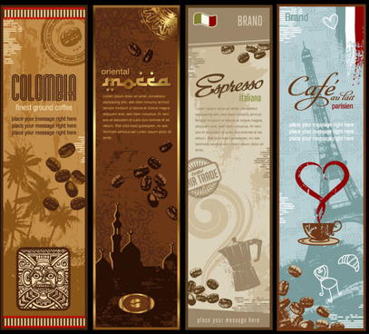 presentation of creative coffee cards design elements vector