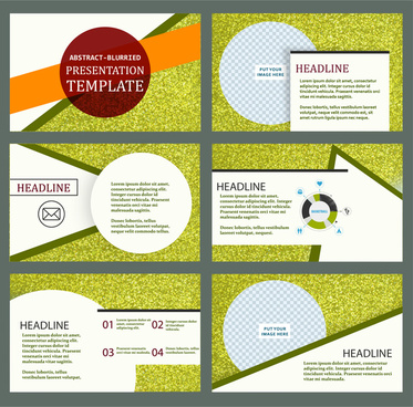 presentation template design with green abstract background