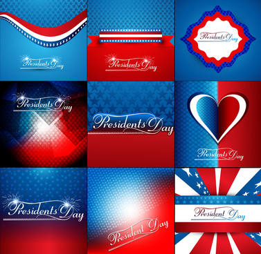 president day in united states of america collection colorful background vector illustration