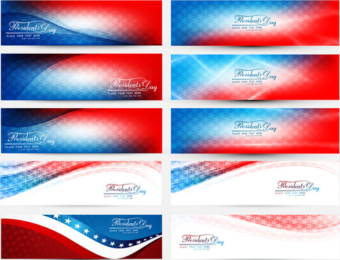 president day in united states of america with colorful header set collection vector illustration