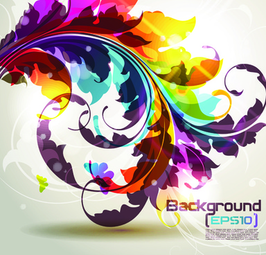 pretty and colorful floral elements backgorund vector
