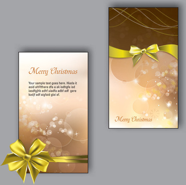 pretty bow christmas cards design vector