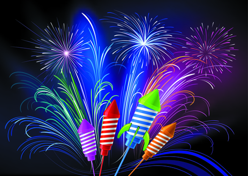 pretty fireworks holiday elements vector