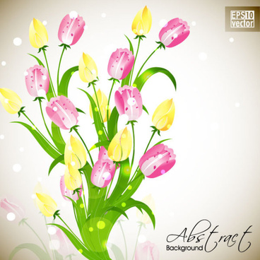 pretty flower background vector graphic set