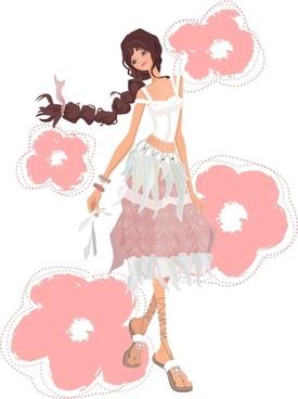 pretty girl wearing a skirt vector