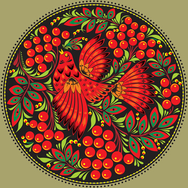 pretty russian ornaments design vector