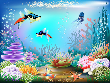 pretty underwater world element vector