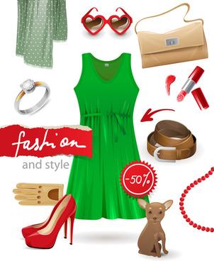 pretty woman fashion style vectors