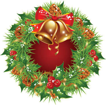 pretty xmas wreath design vector