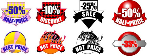 price discount labels vectors