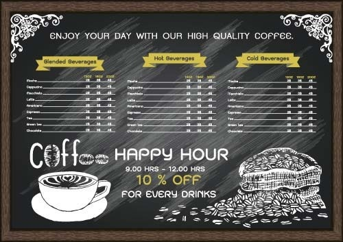 price list menu for cafe vector