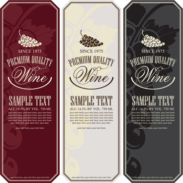 price menu wine retro vector