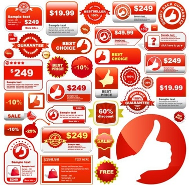 sales tags collection flat shapes white red decor