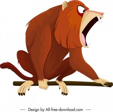 primate icon cynocephalus species sketch cartoon design