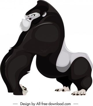 primate species icon black white cartoon gorilla sketch