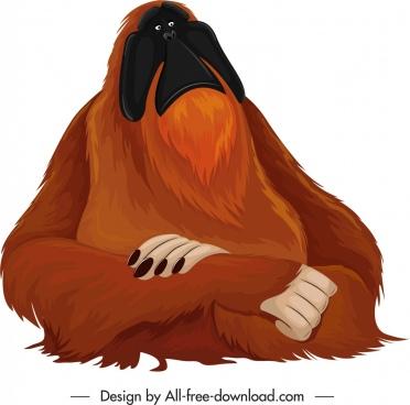 primate species icon cartoon orangoutang character sketch