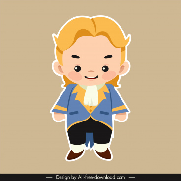 prince icon cartoon character flat sketch
