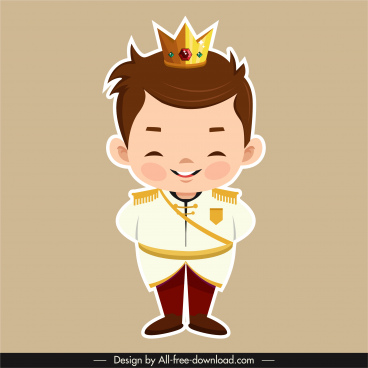 prince icon elegant boy sketch flat cartoon character