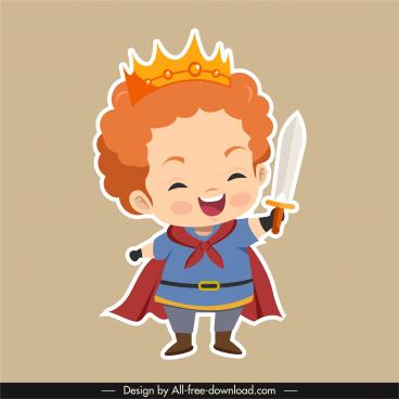 prince icon funny boy sketch flat sketch