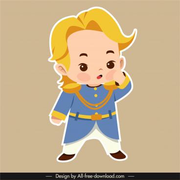 prince icon handsome boy sketch flat sketch
