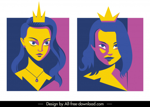 princess avatar young girl sketch colored classic design