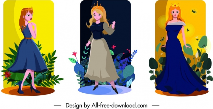 princess card sets cute girl icons cartoon characters
