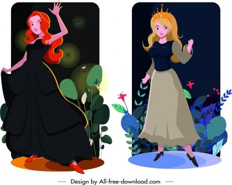 princess card templates elegant girl icons cartoon design
