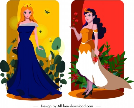 princess icons colored cartoon characters