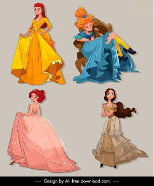 princess icons colored cartoon characters