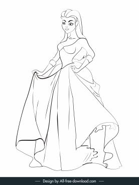 princess painting cartoon character black white handdrawn sketch