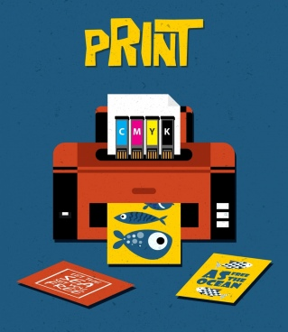 print work banner modern machine icon multicolored design