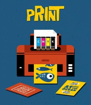 print work banner modern machine icon multicolored design