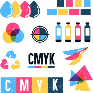 printed signs icons colorful flat shapes