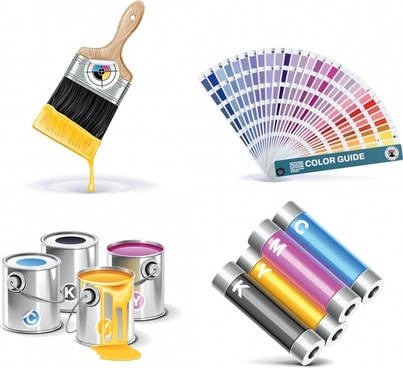 paint colors icons bright modern colorful 3d sketch