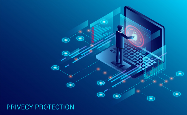 privacy protection and software for development with businessman stood in front of a computer with high security isometric web pages and window binary code and site illustration cartoon vector