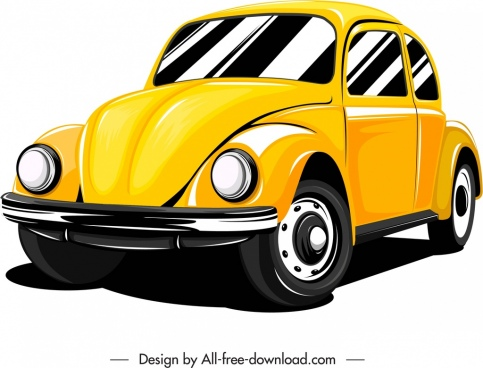 private car icon classical model yellow sketch