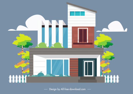 private house architecture template colorful contemporary design