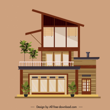 private house template colored modern flat sketch