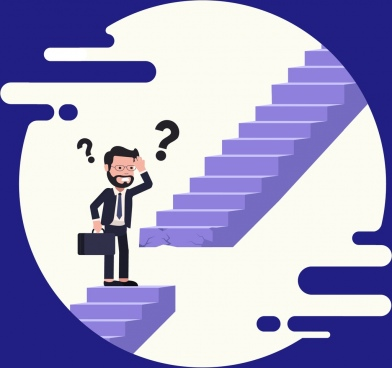 problem background confused man interrupted stairs cartoon design