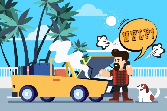 problem background man broken car icons cartoon design