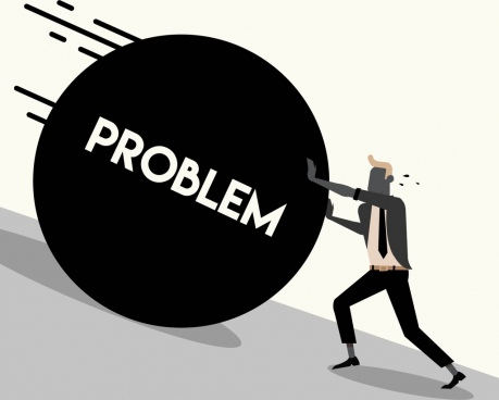 problem background man pushing stone icon cartoon character