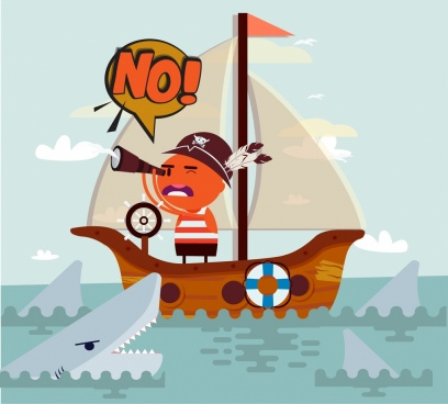 problem background pirate ship shark icons cartoon characters