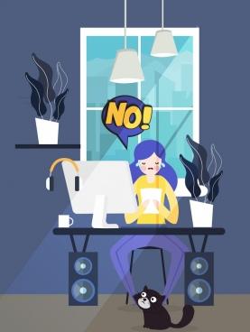 problem background working woman speech bubble cartoon design