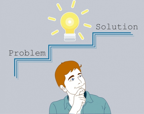 problem concept background man lightbulb texts decor
